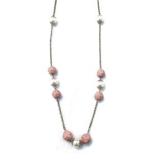 Forever 21 Jewelry - Pearl Pink Rose Bead Long Gold Statement Necklace